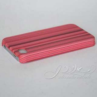 Pink Wood Design Leather paste Hard Case For Iphone 4S