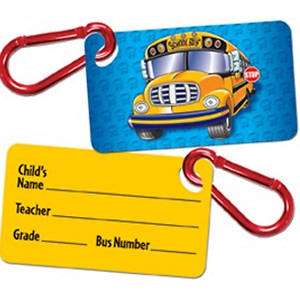 Student ID Tag for Backpack, etc. with 3D School Bus