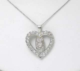 PLATINUM DIAMONDS HEART PENDANT & 14k WG NECKLACE