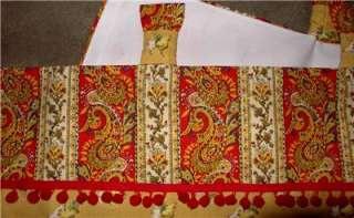 Tab Top VALANCE French Country Red Yellow Gold Rooster Hen Toile