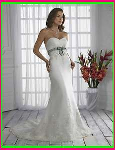 Hot sell white Strapless gown Wedding Dress Custom Size 2 4 6 8 10 12
