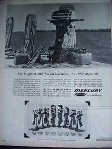 1964 MERCURY MERC 39 Outboard Boat Motor on Dock Ad