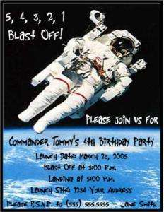 Astronaut Outer Space Birthday Party Invitations