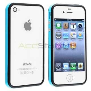Blue/Black Bumper w/ Button TPU Gel Case Cover+PRIVACY FILTER for
