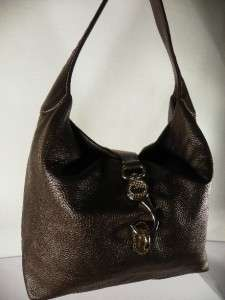 Dooney & Bourke Leather Hobo Handbag w/ Logo Lock~Brown
