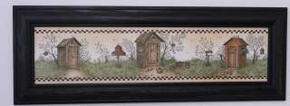 Country bathroom outhouses garden tools picture framed