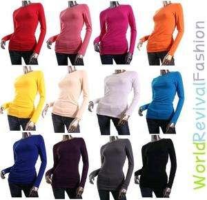 Women/Junior Plain Basic LONG SLEEVE Stretch T Shirts Solid Cotton