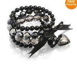 Cute Nice Black Mulriple Bead Bowknot Bangle For Lady 4 Girl