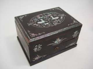 TWO OLD CHINESE BOXES, LACQUERED WOOD BOX W MOP & WOOD JEWELRY BOX