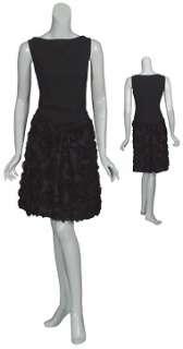 PIAZZA SEMPIONE Black Swirling Ruffle Cocktail Evening Dress 48 12 NEW