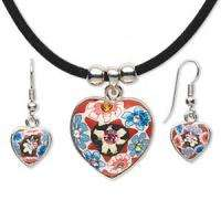 HEART Polymer CLAY Bead Necklace & Earring Set RED BLUE