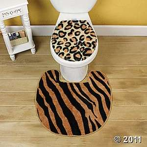 WILD ANIMAL PRINT DECOR COMPLETE BATHROOM ACCESSORY SET NEW