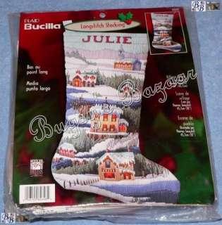 Bucilla VILLAGE Longstitch Needlepoint Stocking Kit