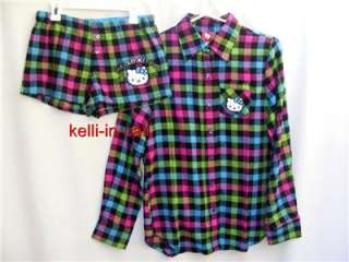 Sanrio Plaid Flannel SHIRT & SHORTS 2 PC Pajama Lounge SET NEW