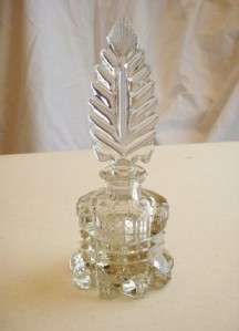 Vintage Cut Glass Perfume Bottle & Stopper, 7.5 tall, Great Detail