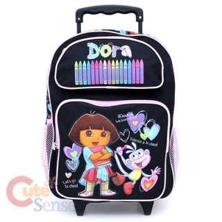 Dora The Explorer Dora & Boots Large Roller Backpack  Crayon Black