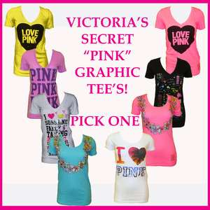 Victorias Secret Pink Graphic Tee Tees T Shirt Hawaii Love Pink T