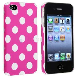 Pink Large Polka Dot Case+Privacy Filter Screen Protector For Apple