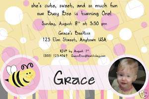 Bumble Bee PERSONALIZED Photo Birthday Invitations
