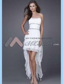 line Strapless Asymmetrical Organza Prom Dress (MLPP16727)