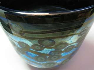 Signed Blue Green Silver Grey Metalic Abstract Art Glass Vase