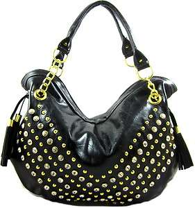Gold tone Stud Crystal Rhinestone Emebellished Fashion Hobo Purse