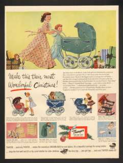1951 Thayer Xmas Toy Doll Coach Baby Buggy Vtg Print Ad