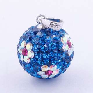 New Blue Czech Crystal Disco Ball Flower Dangle Pendant 925 Silver Fit