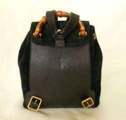 Price Cut~ GUCCI Black Suede Bamboo handle Leather Mini Backpack Bag