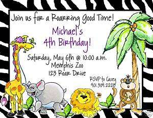 Jungle Safari Zoo Baby Shower Birthday Invitations