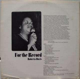 Private 1975 Soul Jazz ROBERTA DAVIS for the record LP