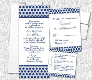 Navy Blue Silver Polka Dots Tea Wedding Invitations