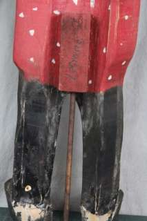 L257 VINTAGE HAND CARVED WHIRLIGIG BLACK MAMMY PATRIOTIC WOMAN