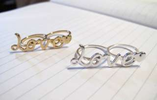 Love & heart  new two finger double ring perfect gift