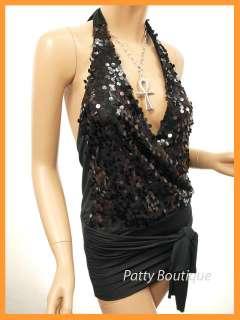 Black Sequins Deep V Halter Mini Dress S M L XL