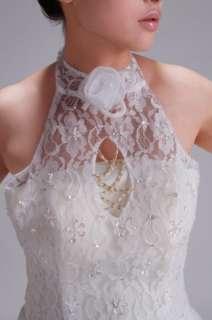 Halter neck Flowers Embellished Wedding Dress White
