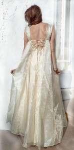 Vtg 70s Lace up GODDESS Sheer Chiffon Organza BOHO Empire WEDDING PROM