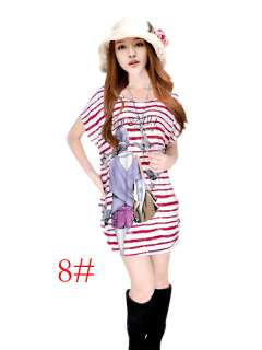 Grils & Womens Bats short sleeves casual printing Dress Plus Size