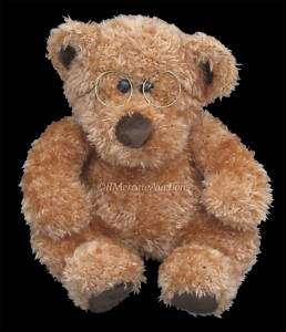 GUND 13 Plush Brown Scruffy Haired TEDDY BEAR w/ Glasses Stuffed