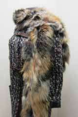 8K Lanvin Removable Fox Fur Stole Wool Blends Tweed Coat 40 Leather