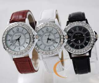 Unisex Lady Womens Wrist Watch Crystal Quartz Leather Stylish Fashion