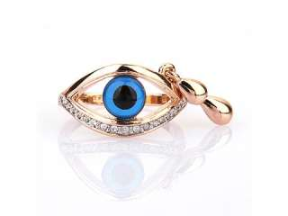 18K GP Evil Eye Ring Swarovski Clear Crystals R564G