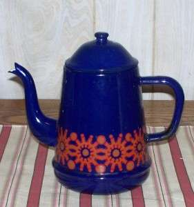 PRIMITIVE ANTIQUE BLUE FLORAL PORCELAIN COFFEE POT CHIC & SHABBY DUTCH