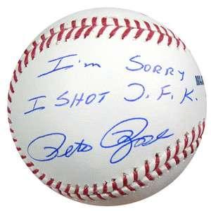 PETE ROSE AUTOGRAPHED SIGNED MLB BASEBALL IM SORRY I SHOT JFK PSA/DNA