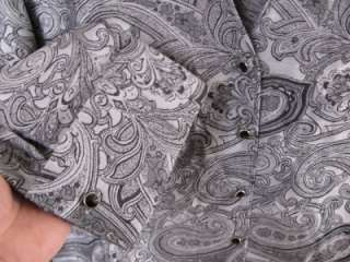 Coldwater Creek French Cuffed Paisley Jacquard Blouse