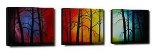 Hand Painted A walk in the woods 3 Piece Canvas Art Set   Framed