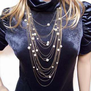jewellery antique gold plated pearl multi chain strand long necklace