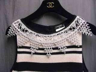6K Chanel Crochet Lace 11C Pink Black White Stripe Cashmere Dress 36
