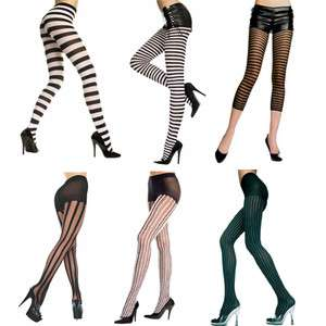 Multi Striped Pin Stripe Fuzzy Vertical Horizontal Stockings Pantyhose