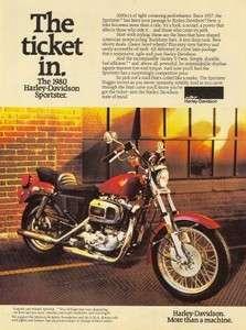1980 Harley Davidson Sportster Original Color Ad